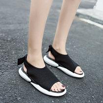 女夏时尚凉鞋松糕厚底坡跟高跟鞋平底韩版凉拖一字型拖鞋正品