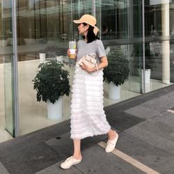 2018夏季新款韩版中长款圆领短袖层层蛋糕流苏拼接假两件连衣裙女