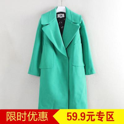 秋系列品牌折扣剪标冬季女装翻领中长款简约百搭毛呢外套C5875