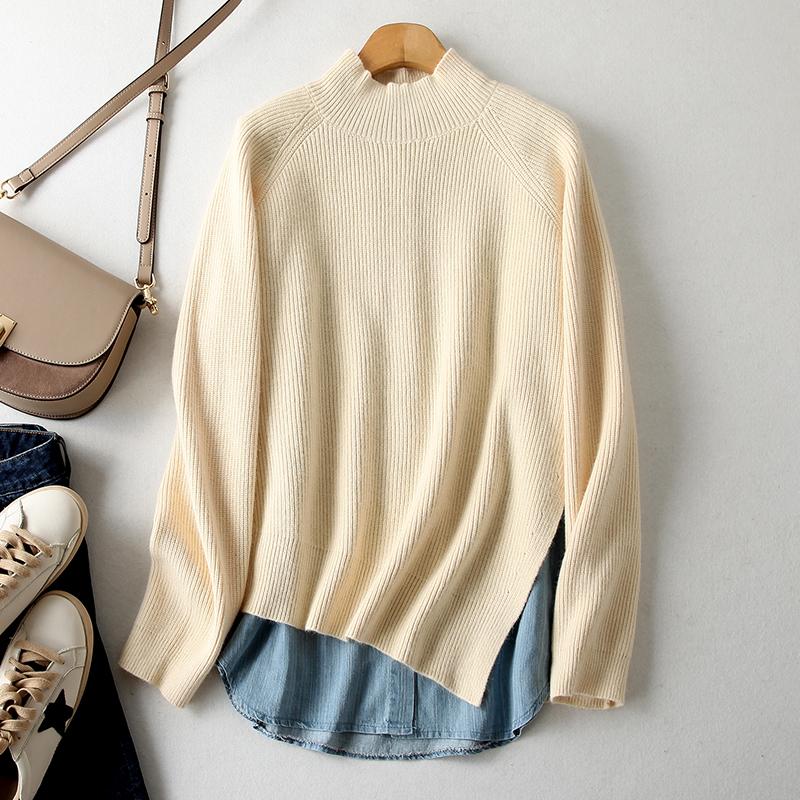 韩国代购时尚圆领牛仔衬衫背心半高领侧开叉针织衫两件套女EDXW11