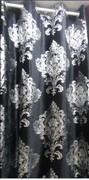 高档长毛烫金绒布 黑色丝绒窗帘 欧式窗帘 银色富贵花