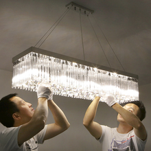 现代简约餐厅灯美式led长条型长方形吸顶饭厅灯餐吊灯水晶灯灯具
