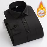 雅鹿长袖保暖衬衫男士冬装新款商务免熨修身加绒加厚男白衬衣
