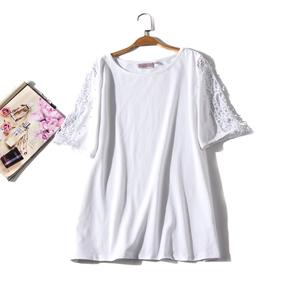 出口欧美单女装胸围108-144cm圆领短袖镂空钉珠T恤女有大码H25B