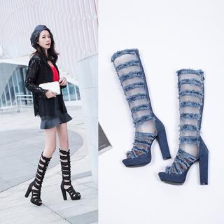 33-43欧美性感牛仔布超高跟女凉靴镂空罗马风后拉链粗跟凉鞋女装