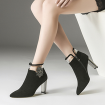 2019 new spring casual high-heeled boots Spring Spring Fashion Korean version of this years super popular womens shoes
