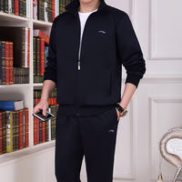 Spring Li Ning sports suit male spring and autumn middle-aged old plus size dad wear casual sweater sportswear three-piece suit