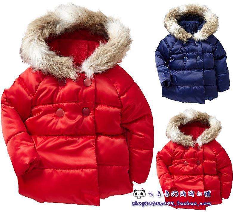 现货美国GAP旗下OLD NAVY 女童红色圣诞缎面加绒连帽棉服棉衣外套