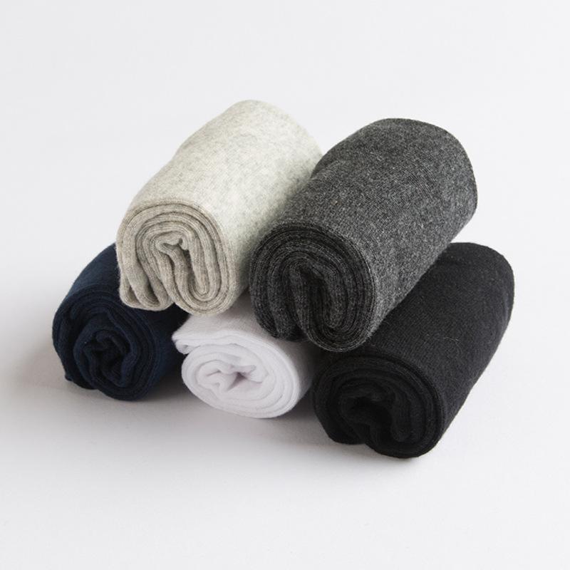 纯棉男袜春季厚款中筒纯色全棉吸汗防臭保暖6双装双十一7折