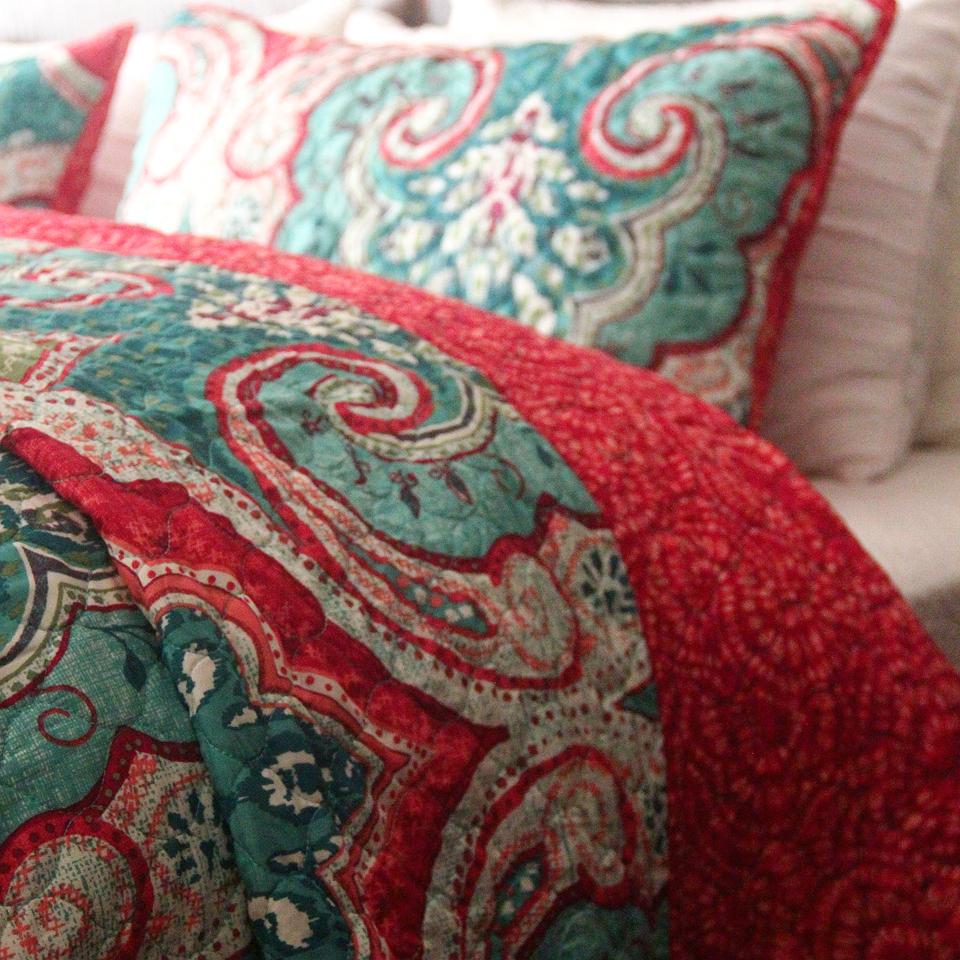 织帛 秋色斑斓 欧美绗缝被三件套 出口床盖夹棉大床罩 春秋被包邮