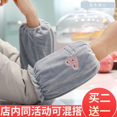 套袖女工作韩版袖套短款毛绒绣花秋冬天防污可爱成人办公防脏学生