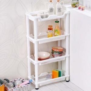 长方形四层置物架 厨房浴室卫生间塑料收纳架 落地式储物沥水架