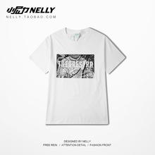 宽松国潮嘻哈 半袖 男女同款 中袖 情侣短袖 夏原创潮牌嘻哈白色T恤