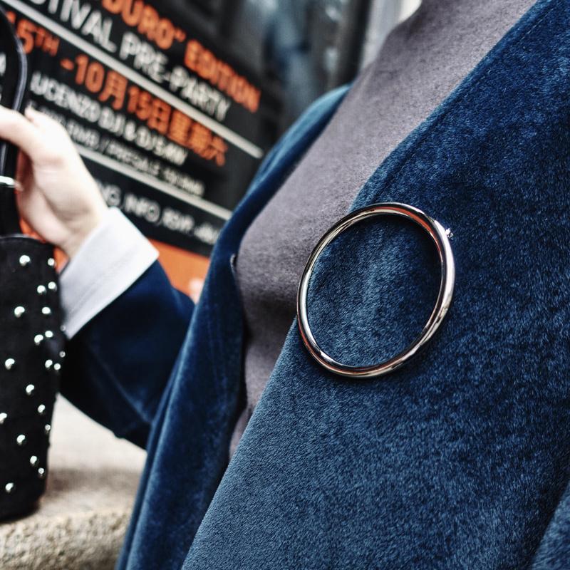韩版个性夸张复古设计大圆环空心百搭金属胸针大别针披肩扣装饰品