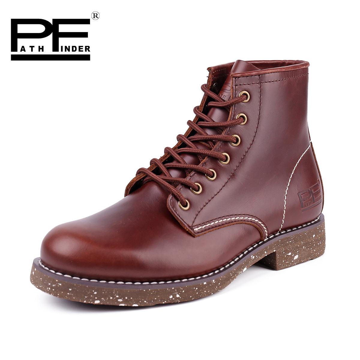 pathfinderPF短筒工装靴伞兵军靴男8111 喷墨潮流真皮户外马丁靴