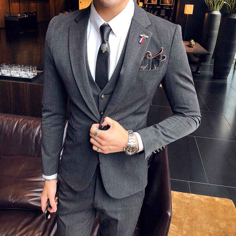 新品男装西服三件套英伦风修身商务休闲韩版免烫西装套时尚一身潮