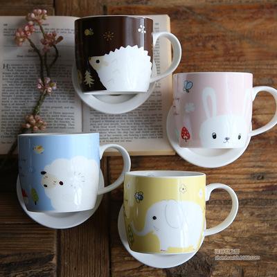 可爱卡通动物图案高品质陶瓷杯子 带盖带刻度 家用办公马克杯