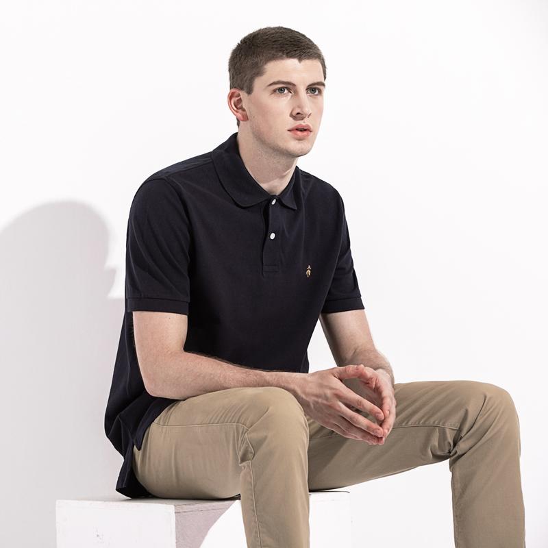 19年新款 BROOKS BROTHERS/布克兄弟 男士纯色经典透气短袖POLO衫