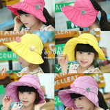 South Korea imports in pink children girls female baby foldable sunhat sun hat