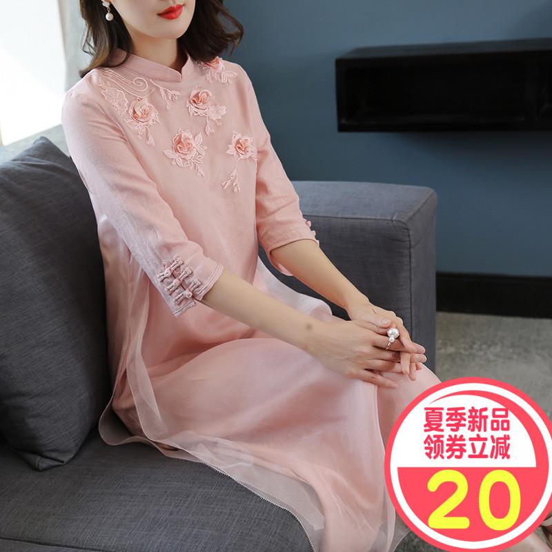 粉色夏装旗袍