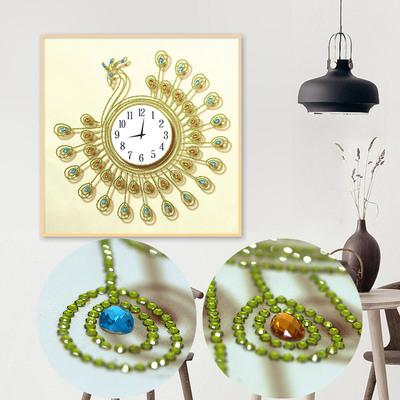 钻石画 钻石绣十字绣异形钻现代简约客厅孔雀钟表系列装饰画大幅