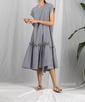 断码特价 圆领短袖廓形全棉小格子极简连衣裙 大码显瘦 蓝色L1件