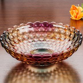 水果盘大号干果盘欧式现代 客厅创意水晶玻璃水果盆果斗糖果盘子
