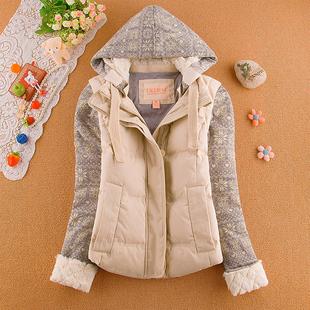 日系复古文艺妮菲少女冬装小熊维尼学院风加厚保暖短款羽绒服外套