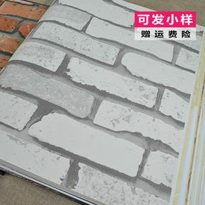 现代中式农庄餐厅酒楼宾馆红色砖纹壁纸工业风白色砖墙砖块墙纸J