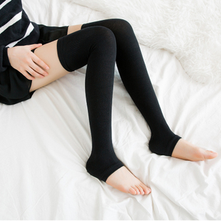 日系纯棉踩脚袜套护膝保暖长筒袜四季女袜过膝袜韩国秋冬季高筒袜