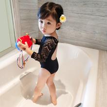 Girls'Swimwear Children's Clothes New Summer Princess's Conjoined Black Lace Children's Swimwear Girls' Baby's Long Sleeve Swimwear