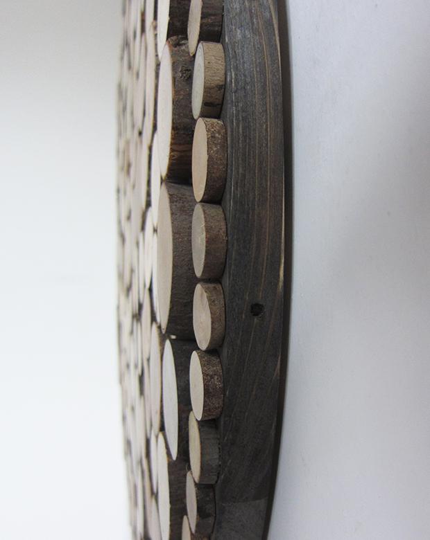 单幅挂画最原木北欧装饰画背景墙画壁画 圆形无框木片拼贴立体画