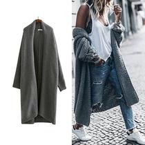 欧美复古毛衣开衫加厚纯色外套宽松大码女中长款蝙蝠袖秋冬针织衫