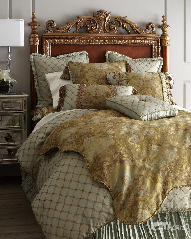 美式豪华真丝绣花床品多件套五件套定制样板房新中式床上用品包邮