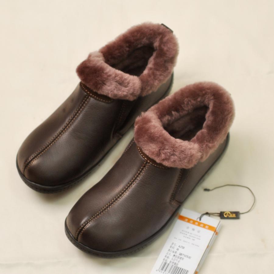 真皮毛一体棉鞋
