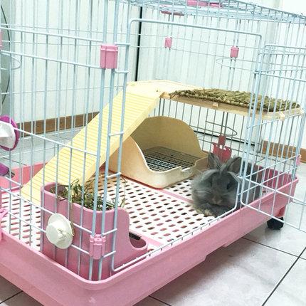 宠物兔笼子特大号 防喷尿 龙猫荷兰猪豚鼠养殖笼家用 双层兔别墅