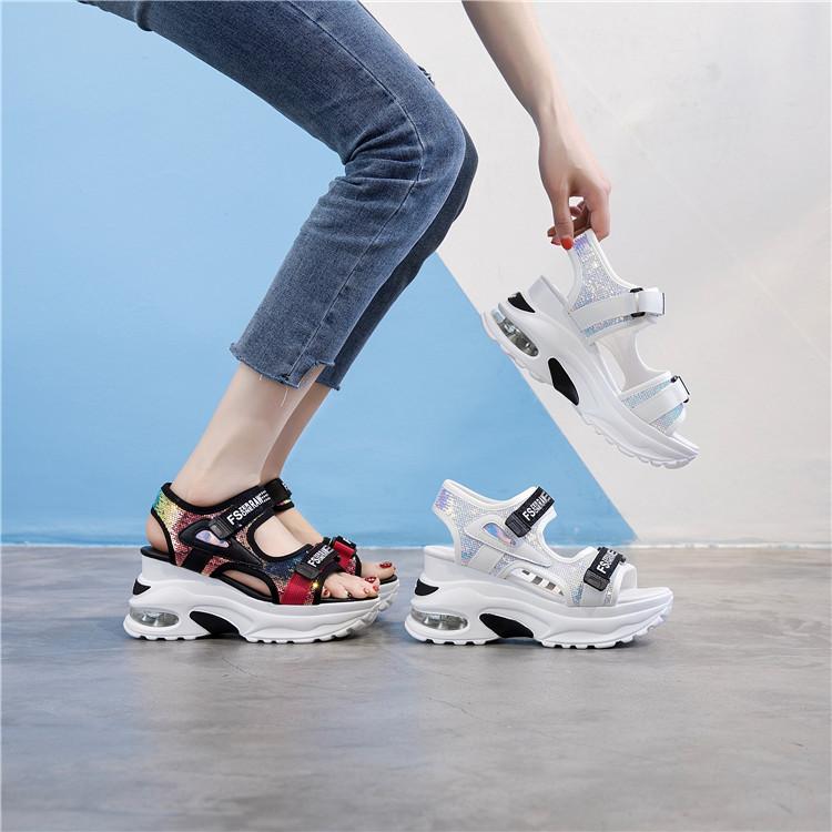 ins超火的女鞋夏季韩版魔术贴厚底松糕跟运动凉鞋气垫坡跟罗马鞋