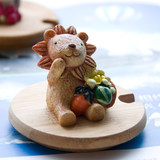 Environmental protection solid wood bamboo diy handmade mark water ceramic cup cover harvest small lion