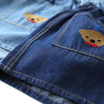 春夏新款 日系森女可爱小熊刺绣宽松文艺小清新松紧腰牛仔短裤排行