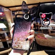 新款兔耳朵流沙iPhone7plus手机壳8苹果6s水晶挂绳全包软壳7女潮