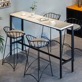 大理石吧台桌铁艺经济长方形餐桌现代简约家用餐厅户外庭院高脚桌