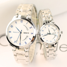 2018 the new Korean version of the trend college wind double calendar steel belt lovers watch a pair of male and female students quartz watch