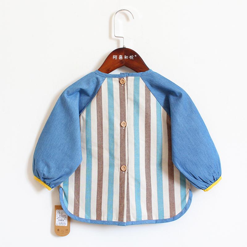 儿童纯棉长袖罩衣宝宝吃饭反穿衣婴幼儿防脏护衣幼儿园纽扣款罩衫