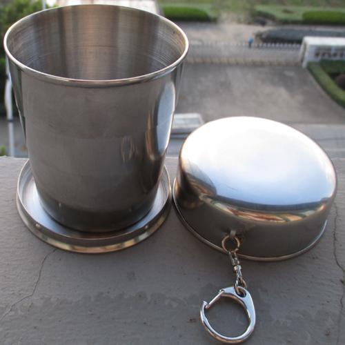 便携伸缩水杯水壶水瓶酒杯防漏旅游 304不锈钢旅行户外折叠杯子