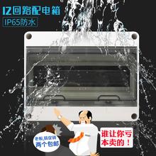 配电强电箱PZ30 塑料明装 户外防水空开线盒HT 12回路空箱IP65