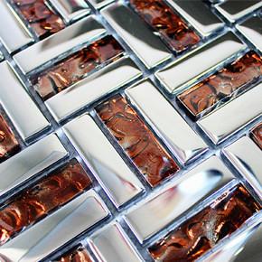 【海马】茶色 玻璃镜面 马赛克 电视背景墙 装修材料 建材装饰