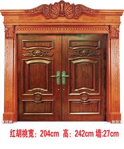 厂家直销售别墅大门  双开门 原木门 非洲红胡桃门 按需定做