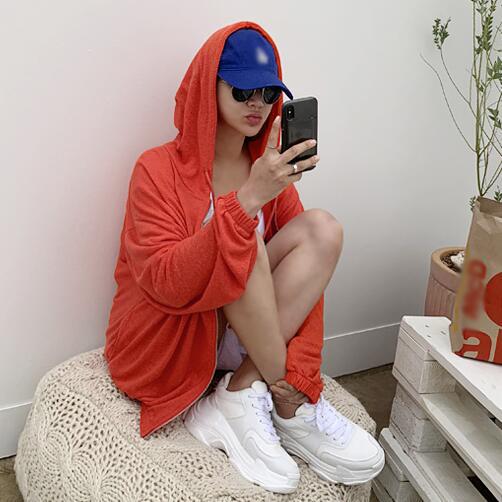 韩国代购2019新款女装naning9 初夏薄款连帽宽松防晒卫衣外套N9