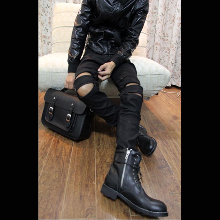 2017新款韩版潮黑色哑光磨砂皮仿真修身拉链机车型男长大码PU皮裤