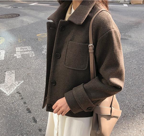 10韩国代购正品cherrykoko秋 棕色短款纯色夹克短外套休闲百搭